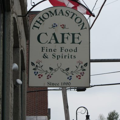 "Sign for Thomaston Cafe ""Fine Food and Spirits:"