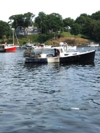 Lobster Boat in Rockport Harbor Maine.