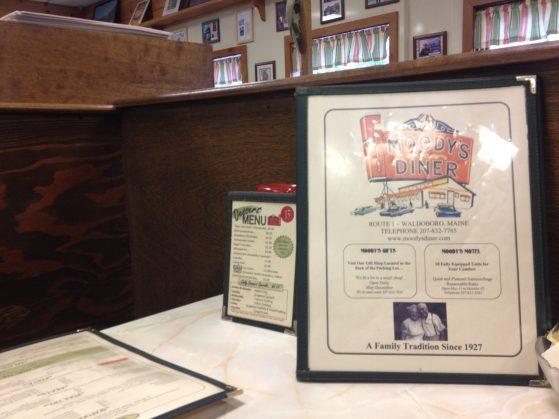 A photo of Moody's Diner menu.