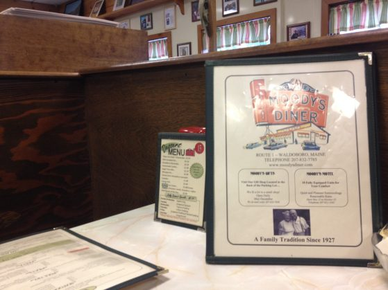 A photo of Moody's Diner menu.