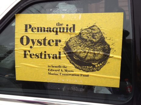 A car bumper sticker advertising the Pemaquid Qyster Festival