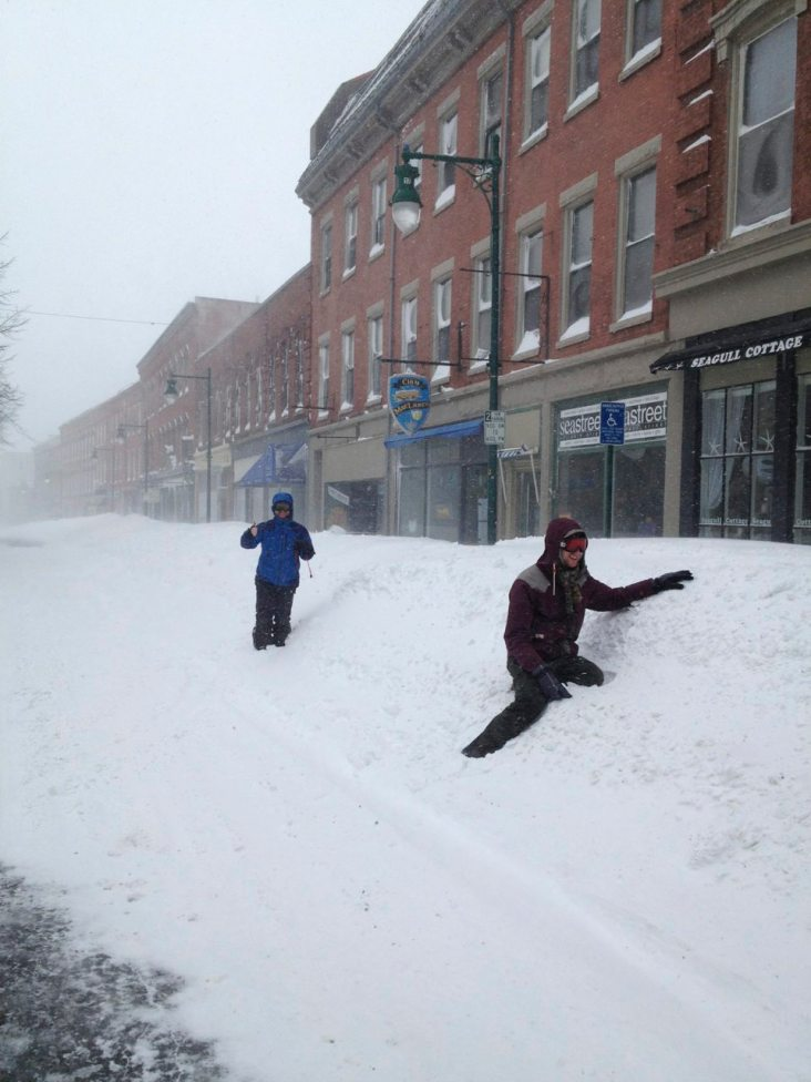 Rockland Maine in the middle of the blizzard. The sidewalks were closed, so we were sharing the road with pedestrians. I think they were afraid of Lanita's driving.
