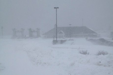 Maine ferry terminal in the middle of Nemo blizzard. Rough seas out there… wind howling and blowing like crazy. No ferries running today!