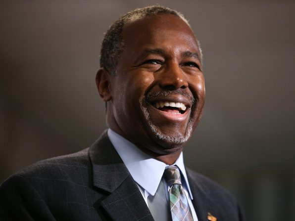 Ben Carson Smiles - The front four teeth have been capped. Just a bit short. Overall nice dental work,