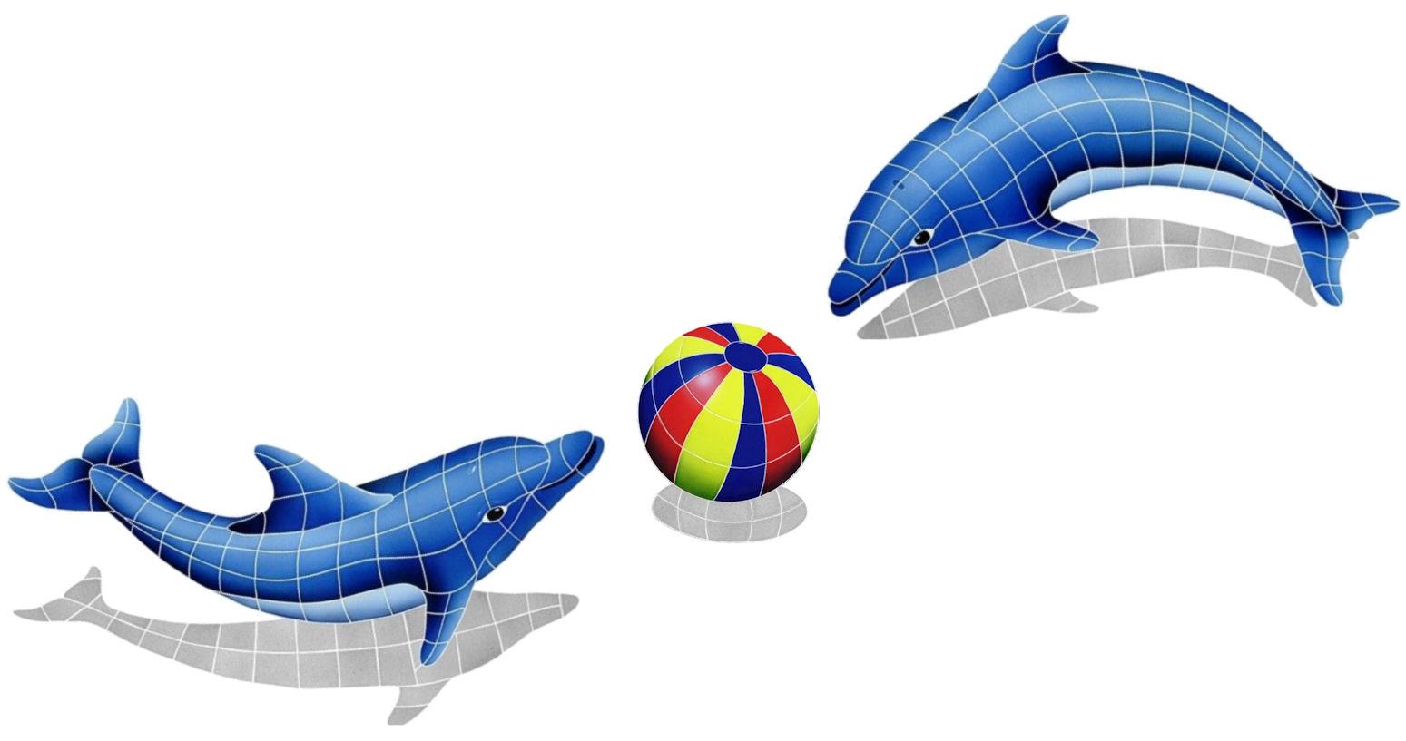 dolphin shadow trio ceramic mosaic tile