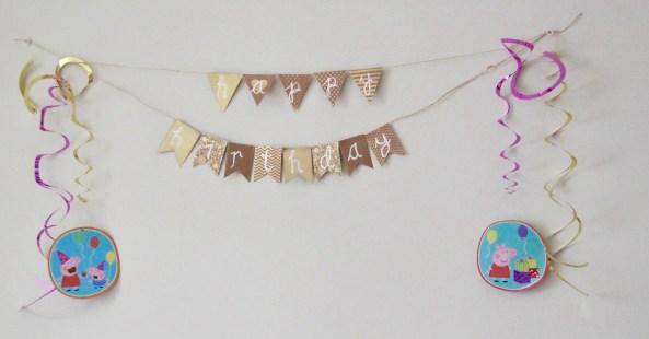Peppa Pig Birthday Decorations on a wall