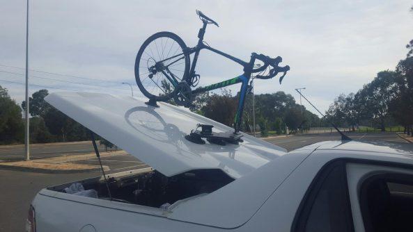 HSV Maloo Ute with SeaSucker Mini Bomber 2 bike rack