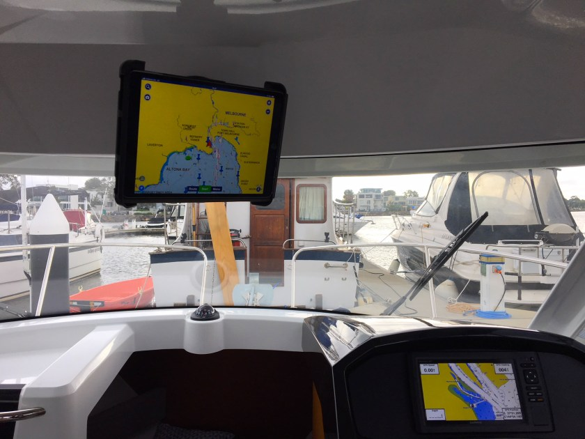 Off-Road & Marine Tablet Cradle Mount in boat