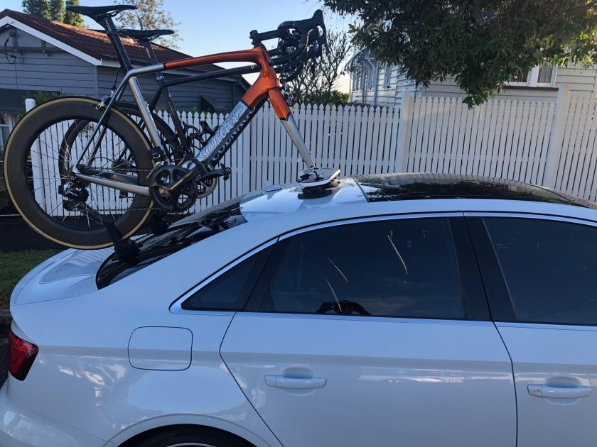 SeaSucker Mini Bomber 2-Bike Rack fitted to an Audi S3