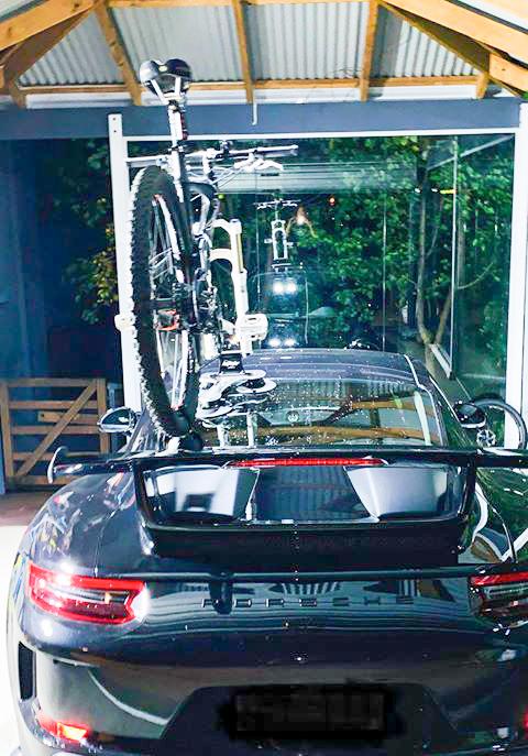 rear view of Porsche GT3 with SeaSucker Talon 1-Bike Rack