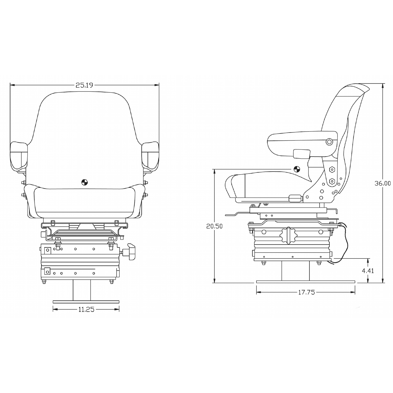 Black Vinyl Seat W Mechanical Suspension Hys