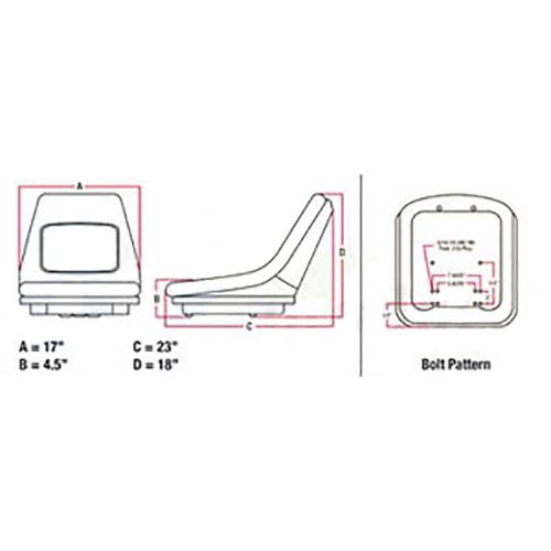 Seat for Kubota BX1830 BX2230 BX23 B1550 B1700 B1750 B2100