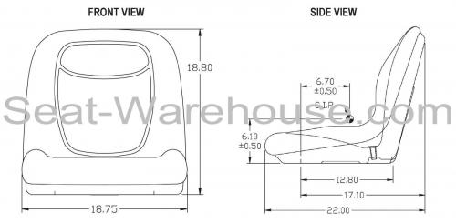 BLACK HIGH BACK SEAT w/ Slide Track Kit for Case Skid