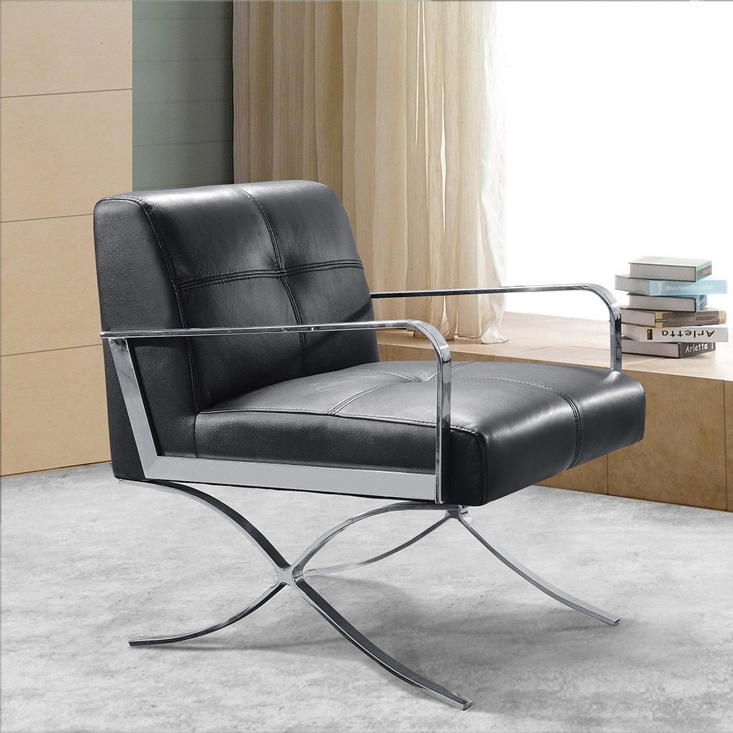 Black Leather Lounge Chair Divani Casa Delano Modern Black Leather Lounge Chair