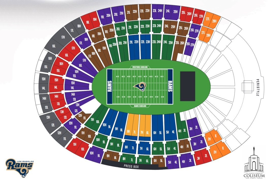Los Angeles Memorial Coliseum Ca Seating Chart View