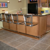Swing out stools by Seating Innovations - Specialty, Residential Use Application, Kitchen/Snack Bar Room, Traditional Style, Contessa 333 (Holland Chair), Satin Nickel Finish, Maple Seat, 36 Height