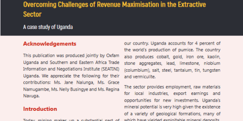 AMV and the maximisation of tax revenues from the Extractive sector