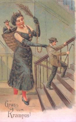 Krampus card large woman