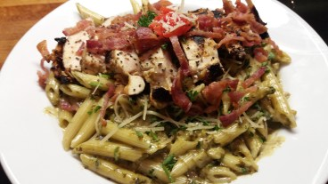 pasta rockefeller, grilled chicken, bacon
