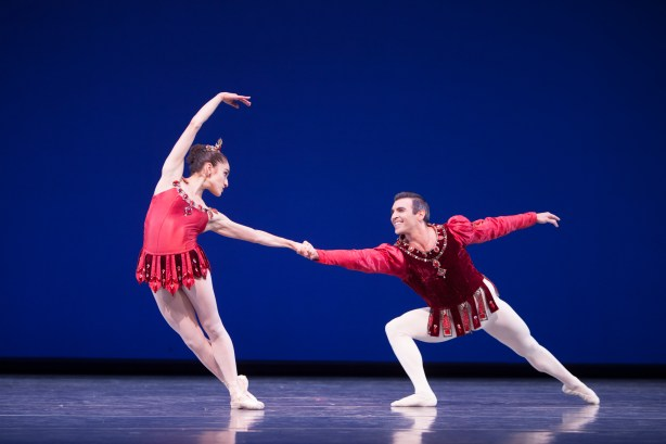 Pacific Northwest Ballet soloist Leta Biasucci and principal dancer Jonathan Porretta in Rubies Photo by Angela Sterling