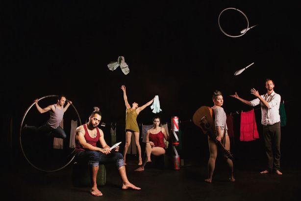 Acrobatic Conundrum's Love & Gravity cast left to right: Terry Crane, Scotty Dont, Xochitl Sosa, Erica Rubinstein, Carey Cramer, Ty Vennewitz. Photo by Danny Boulet/Whittypixel