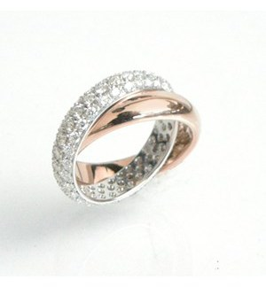 Garavelli Diamond Pave and High Polish Rolling Ring
