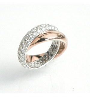 Garavelli Diamond Pave and High Polish Rolling Ring