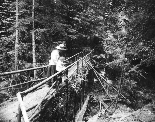 black and white photo of woman and toddler on a narrow, long footbridge spanning a deep ravine. Bridge is rustic, dress is early 20th-century, and surroundings are wooded with conifer trees.