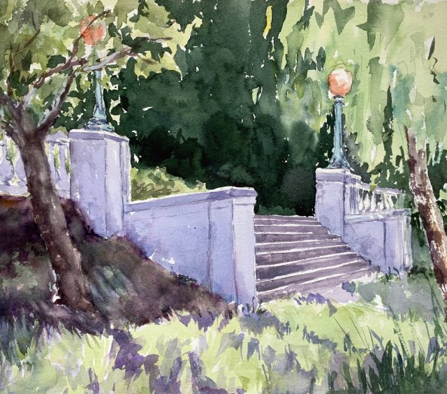 example of submission: watercolor of Beaux arts era concrete stair leading to lawn.