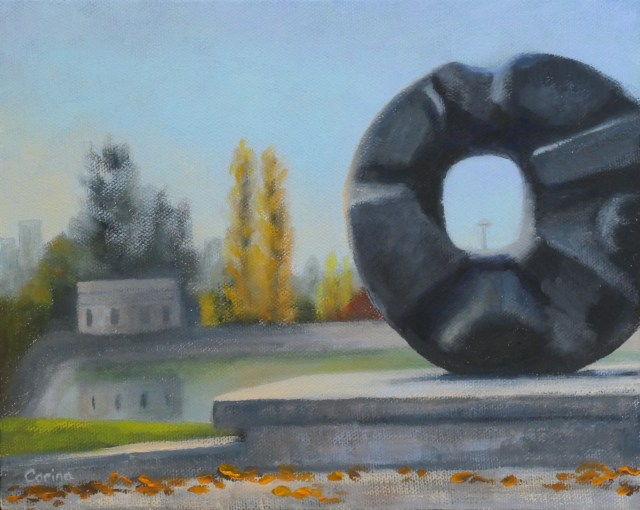 "painting of balck circular sculpture (""Black Sun"" by Isamu Noguchi) with trees and reservoir in background"