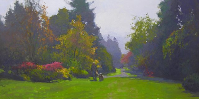 oil painting of man with two dogs walking on long lawn surrounded by colorful vegetation