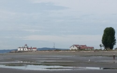 distant view of lighthouse and neighboring building across beach at low tide
