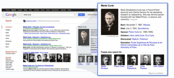 marie curie knowledge panel example