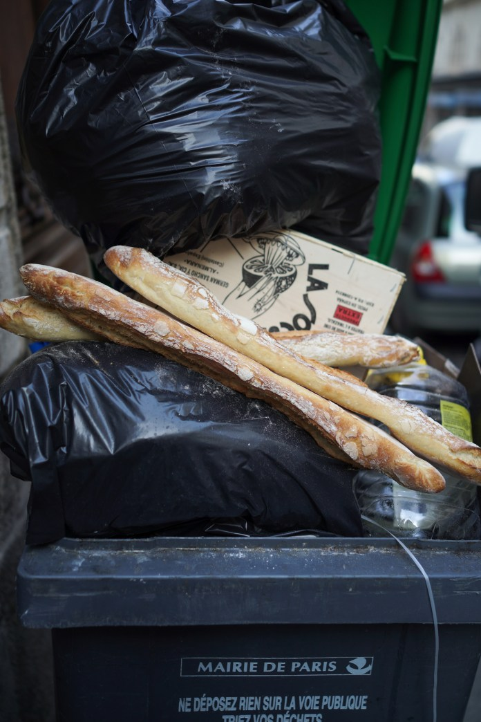 Beautiful baguettes in the garbage? Only in Paris.