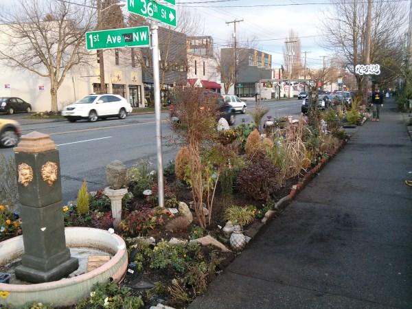 Sidewalk garden bus stop