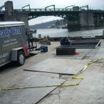 Metal Fabrication on wharf near bridge