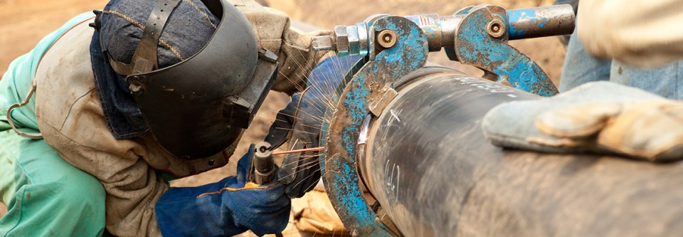 flange pipe being welded