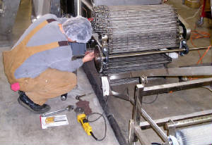 Commercial Food conveyor being assembled