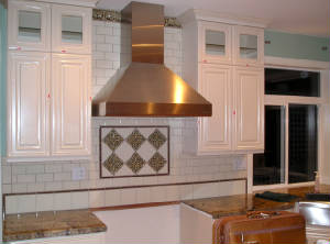 Range hood made from copper and installed