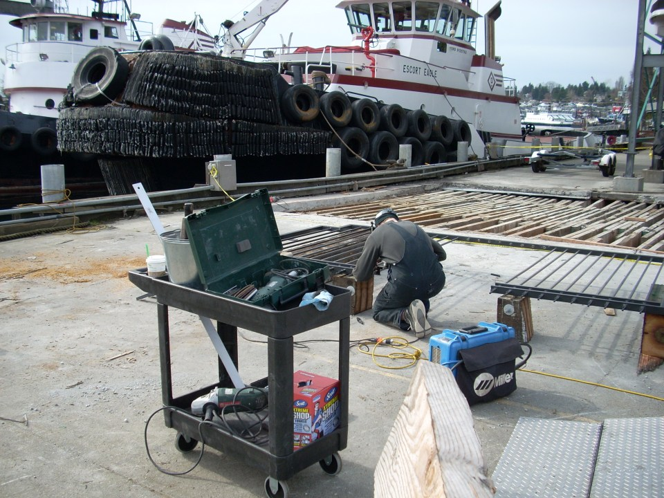 On the job welding at the docks