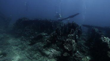 Clip 8: Shipwreck covered in coral. Dive site: Schlemmerstad Wreck