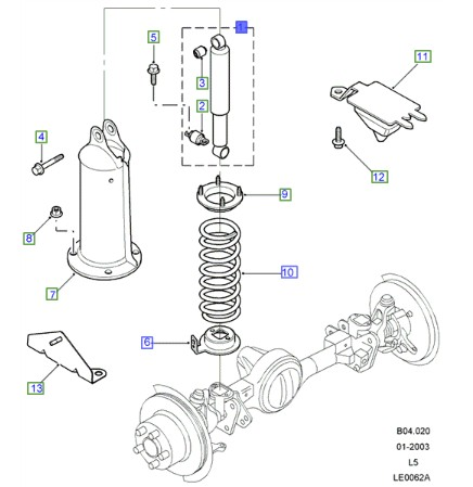 LAND ROVER GENUINE SHOCK ABSORBER ASSEMBLY- FRONT