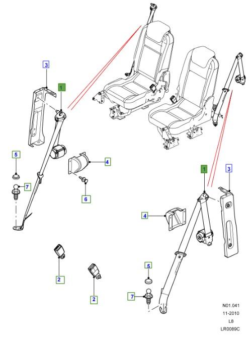 LAND ROVER GENUINE SEAT BELT- Defender (A2) 2007