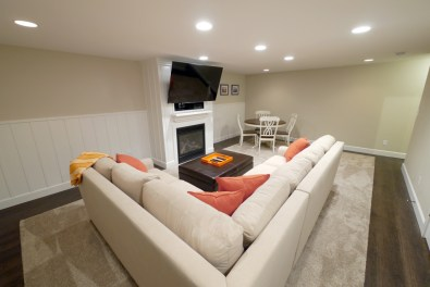 The Family Media Room in the basement provides another comfortable area to relax.
