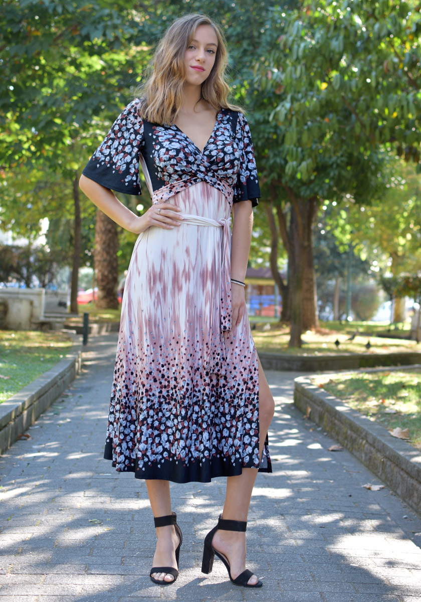 BELL SLEEVE LONG DRESS