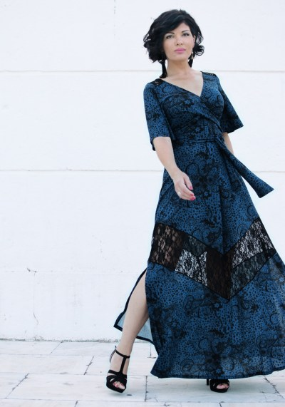 KIMONO MAXI DRESS WITH LACE