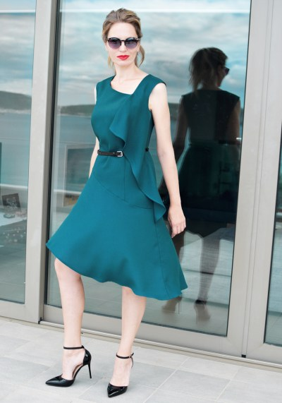 ASYMMETRIC FRILLED TURQUOISE DRESS
