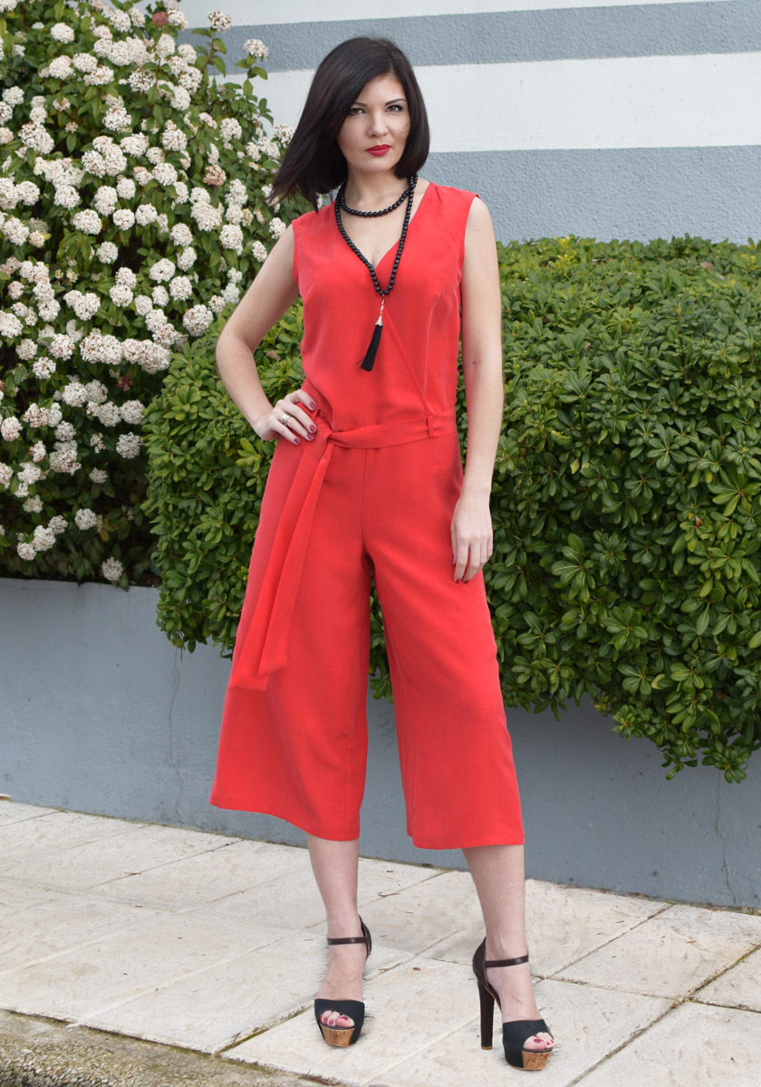 RED ZIP CULOTTE JUMPSUIT