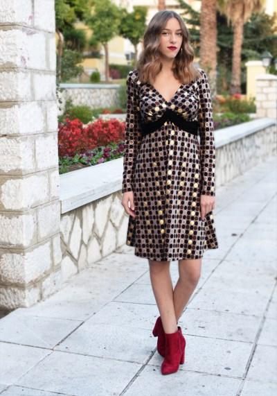 GOLD POLKA-DOT DRESS
