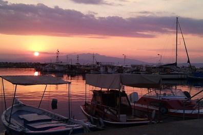 Sunset in Kavala harbor, Greece